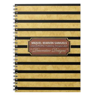 Gold Black Stripes Decorative Modern Notebook