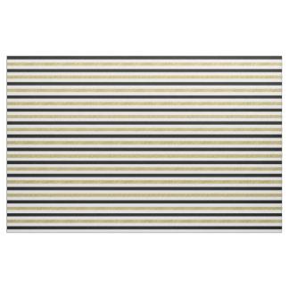 Gold Black Stripes Fabric