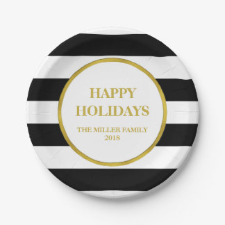 Gold Black Stripes Happy Holidays Christmas Paper Plate