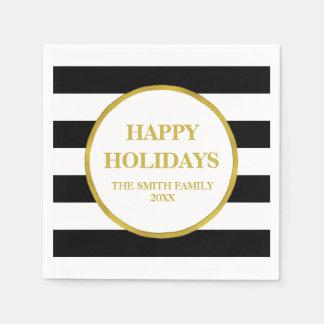 Gold Black Stripes Modern Christmas Napkin Paper Napkins