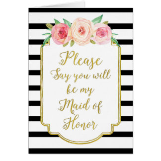 Gold Black Stripes Pink Floral Maid of Honor Card