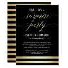 Gold & Black Stripes Shh... It's A Surprise Party Card