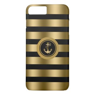 Gold & Black Stripes With Nautical Anchor iPhone 7 Plus Case