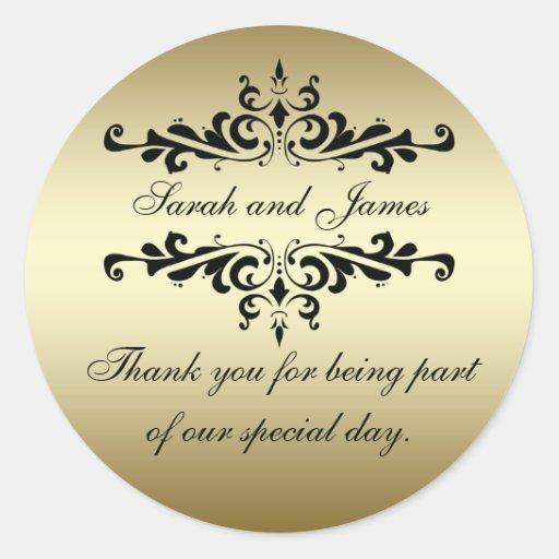 Gold Black Swirls Thank You Wedding Favor Stickers