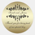 Gold Black Swirls Thank You Wedding Favour