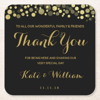 GOLD & BLACK THANK YOU personalised coaster
