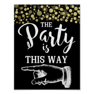 GOLD & BlacK THIS WAY FINGER POINTING  confetti Poster