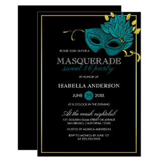 Gold, Black & Turquoise Masquerade Sweet 16 Party Card
