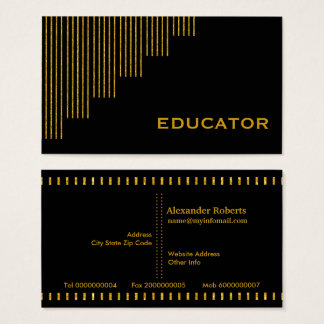 Gold, black vertical stripes educator business card