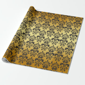 Gold Black Vintage Damask Pattern 2 Wrapping Paper