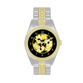 Gold Black Vintage Floral Wristwatches