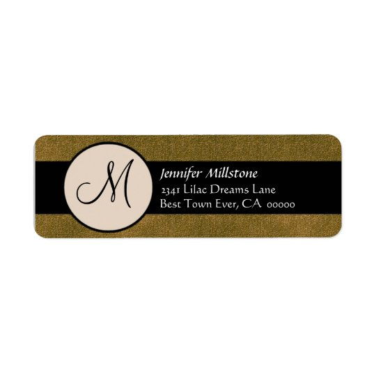 GOLD & BLACK Wedding Monogram Address Label
