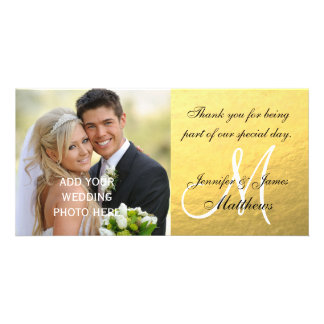 Gold Black Wedding Thank You Message Card