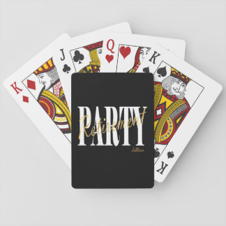 Gold, Black, White Retirement Party Playing Cards