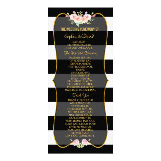 Gold Black White Stripes Flowers Wedding Program