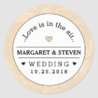 Gold Black & White Wedding Custom Names Love Classic Round Sticker