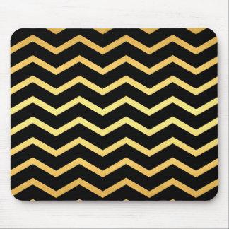 Gold & Black Zig Zag Pattern Mouse Pad