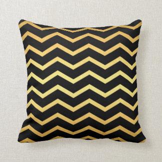 Gold & Black Zig Zag Pattern Throw Pillow