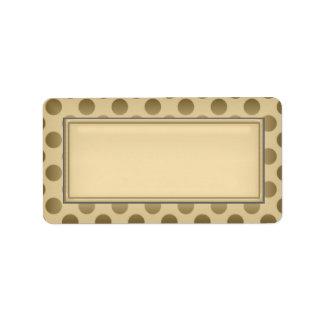 Gold Blank Address Labels::Polka Dots