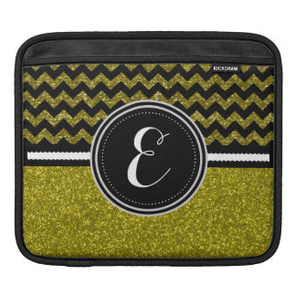 Gold Bling Glitter and Chevron Personalized Case