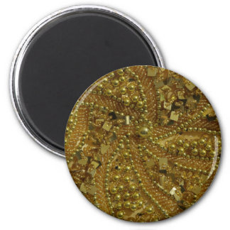 Gold bling glitter & pearls magnet
