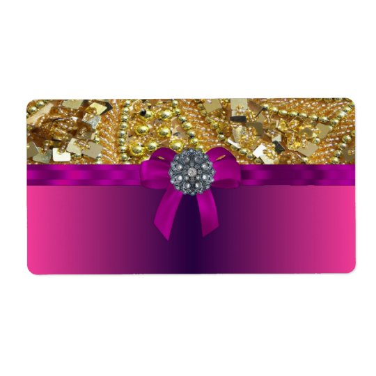 Gold bling & magenta shipping label