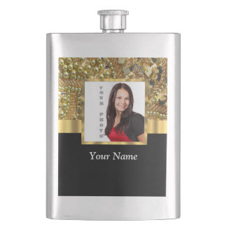 gold bling photo template flask