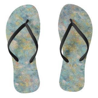 Gold Blue Abstract Flip Flops