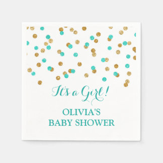 Gold Blue Aqua Turquoise Confetti Baby Shower Disposable Napkin