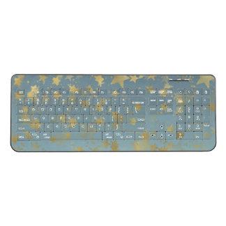 Gold Blue Bokeh Stars Wireless Keyboard