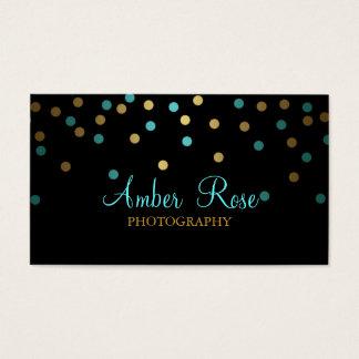 Gold & Blue Confetti Business Card