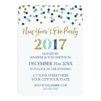 Gold Glitter New Years Party Invitations & Announcements ...
