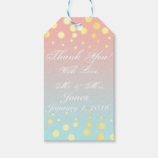 Gold blue coral ombre gift tag pack of gift tags