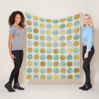 Gold, blue dots fleece blanket