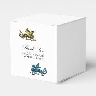 Gold Blue Dragon Wedding Favor Boxes