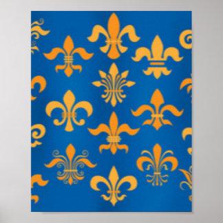 Gold Blue Fleur De Lis Pattern Print Design