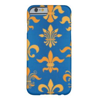 Gold Blue Fleur De Lis Pattern Print Design Barely There iPhone 6 Case