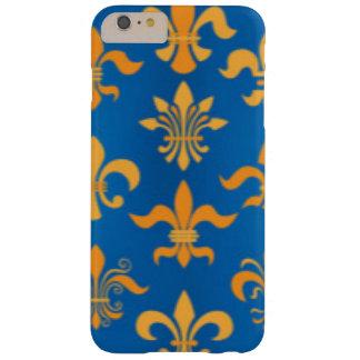 Gold Blue Fleur De Lis Pattern Print Design Barely There iPhone 6 Plus Case