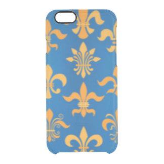 Gold Blue Fleur De Lis Pattern Print Design Clear iPhone 6/6S Case