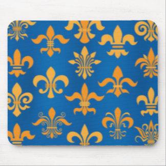 Gold Blue Fleur De Lis Pattern Print Design Mouse Pad