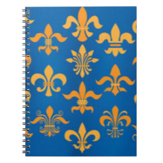 Gold Blue Fleur De Lis Pattern Print Design Notebook