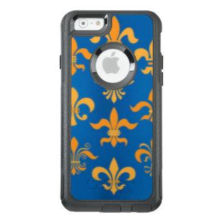 Gold Blue Fleur De Lis Pattern Print Design OtterBox iPhone 6/6s Case