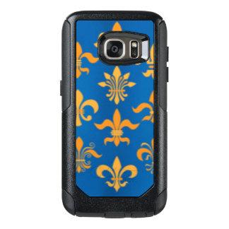 Gold Blue Fleur De Lis Pattern Print Design OtterBox Samsung Galaxy S7 Case