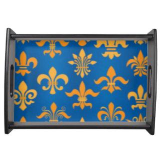 Gold Blue Fleur De Lis Pattern Print Design Serving Tray