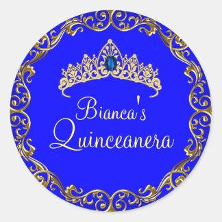 Gold Blue Gem Tiara Quinceanera Sticker 2
