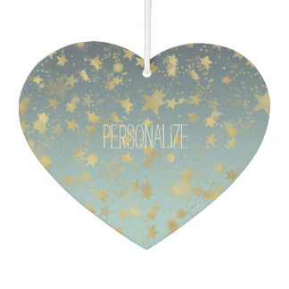 Gold Blue Glam Stars Abstract Personalized Car Air Freshener