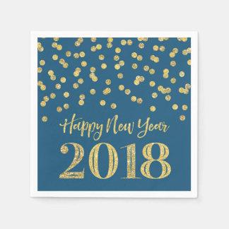 Gold Blue Glitter Confetti Happy New Year 2018 Napkin