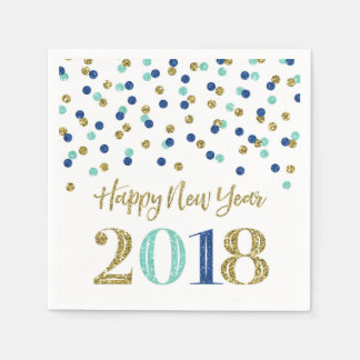 Gold Blue Glitter Confetti Happy New Year 2018 Paper Napkin