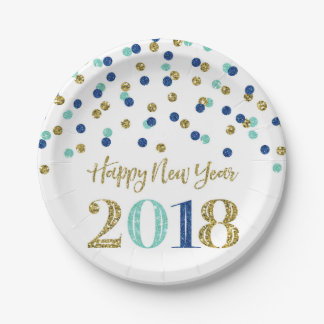 Gold Blue Glitter Confetti Happy New Year 2018 Paper Plate