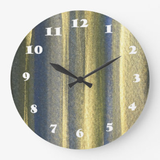 Gold Blue Lines Round (Large) Wall Clock